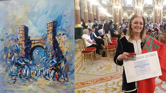 حول تتويج التشكيلية المغربية نادية الصقلي بميدالية الأكاديمية الفرنسية للفنون والعلوم والآداب-طنجة-الأدبية